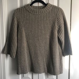 Crop Sleeve Mock Neck Sweater